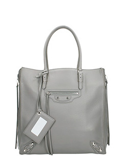 Balenciaga-Borsa Papier Zip Around A5  in pelle grigia