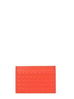 Balenciaga-grid sd card orange leather wallet