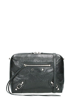 Balenciaga-Class reporter black leather clutch