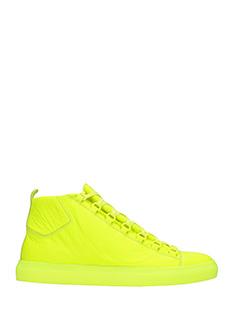 Balenciaga-arena hig yellow leather sneakers