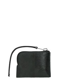Rick Owens-small zipped po black leather wallet