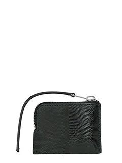 Rick Owens-Portafogli Small Zipped pouch in pelle stampa rettile nera