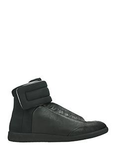 Maison Margiela-Sneakers Future Hi in pelle e tessuto nero