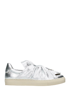 PORTS 1961-Sneakers Metallic Bow in pelle argento