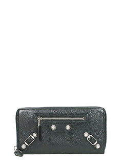 Balenciaga-Giant col ar black leather wallet