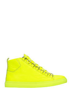 Balenciaga-Arena high yellow leather sneakers