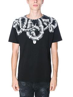 Marcelo Burlon-T-Shirt Acongagua in cotone nero bianco