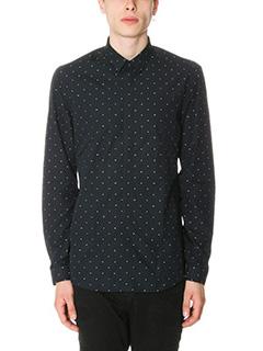 Kenzo-Camicia in cotone nero pois bianchi