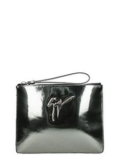 Giuseppe Zanotti-Signature silver leather clutch