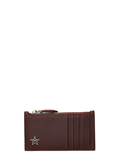 Givenchy-Zip Card bordeaux leather wallet