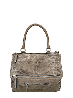 Givenchy-Borsa Pandora Media in pelle lavata taupe
