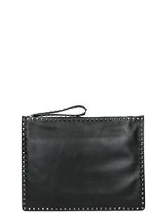 Valentino-black leather clutch