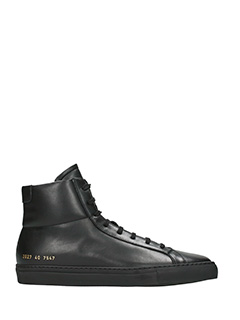 Common Projects-Achille high black leather sneakers