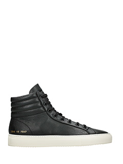 Common Projects-Premium high black leather sneakers