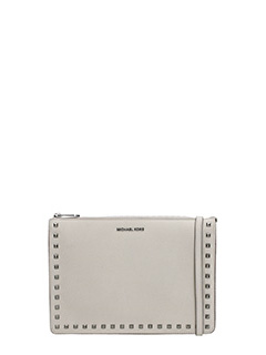 Michael Kors-beige leather clutch