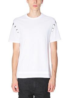 Neil Barrett-T-Shirt Lightning Bolt  in cotone bianco nero