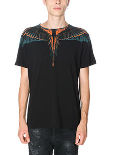 Marcelo Burlon-T-Shirt Cerro Blanco in cotone nero arancione verde