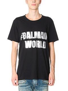Balmain-T-Shirt Balmain World in cotone nero