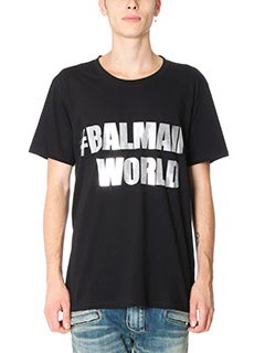 Balmain-T-Shirt Balmain World in cotone nero