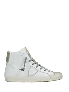 Philippe Model-Sneakers Classic in pelle bianca oro