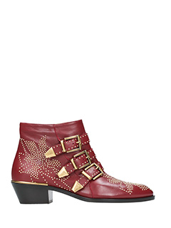 Chloé-Susanna bordeaux leather ankle boots