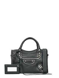 Balenciaga-Borsa Classic Metallic  Mini in pelle nera