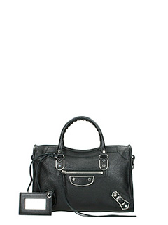 Balenciaga-Met city s aj black leather bag