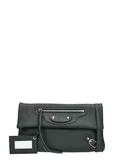 Balenciaga-Clas enve str black leather clutch