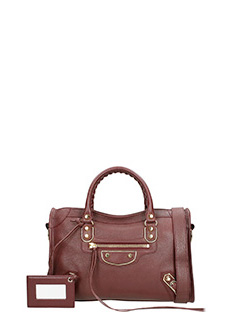 Balenciaga-Borsa Classic Metallic City S in pelle bordeaux