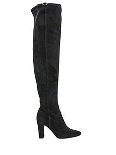 L'Autre Chose-Stivali cuissard in camoscio nero-tacco 10 cm