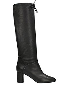 Casadei-Daytime black leather boots