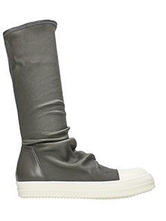 Rick Owens-Sneakers Sock in pelle dark dust