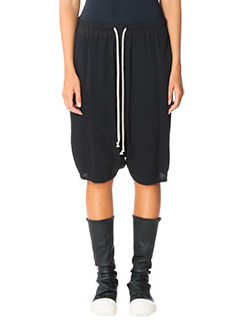 Rick Owens-Pod black viscose shorts
