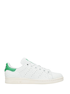 Adidas-Sneakers Stan Smith in pelle bianca verde