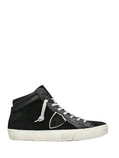 Philippe Model-Sneakers Middle High in camoscio e pelle nera