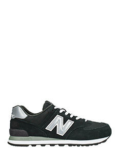New Balance-574 black suede sneakers