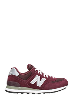 New Balance-Sneakers 574 in pelle e camoscio bordeaux