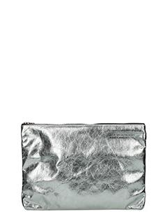 Golden Goose Deluxe Brand-Pochette Toast in pelle argento
