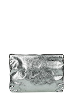 Golden Goose Deluxe Brand-Pochette Toast in pelle argento-chiusura con zip