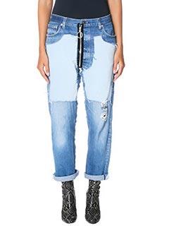 Off White-Jeans Inalay Velvet  in denim e velluto azzurro