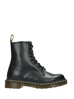 Dr. Martens-black leather combat boots