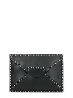 Valentino-Rockstud Untitled black leather clutch