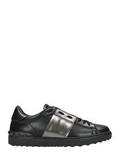 Valentino-Low stripe  black leather sneakers