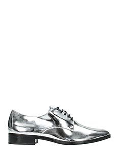 Schutz-silver leather lace up shoes