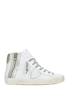 Philippe Model-Sneakers Bike in pelle bianca platino