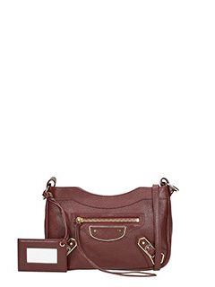 Balenciaga-Borsa Metallic Edge Hip in pelle bordeaux
