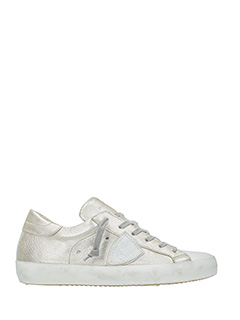 Philippe Model-Sneakers Classic in pelle argento bianca