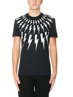 Neil Barrett-T-Shirt Lightning Bolt  in cotone nero bianco