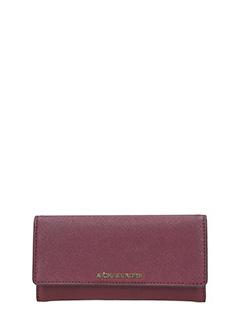 Michael Kors-Portafoglio Jet Set Travel Flat Trifold Wallet in pelle saffiano nera