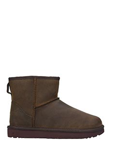 Ugg-Stivali Mini Classic in pelle chestnut